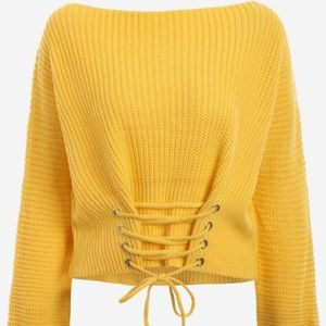 Yellow Boat Neck Lace Up Sweater